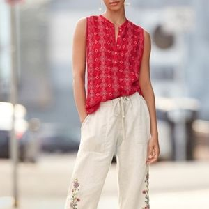 Johnny Was Laia Embroidered Eyelet Tank Red XS